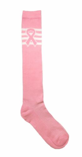 5 pair Lot of 5 Breast Cancer  knee high TUBE SOCKS size 9-11 Pink Ribbon