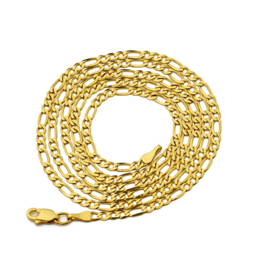 Details about  /14K Yellow Gold 2.5mm Solid Figaro Chain Necklace Available in 16 to 24 inches
