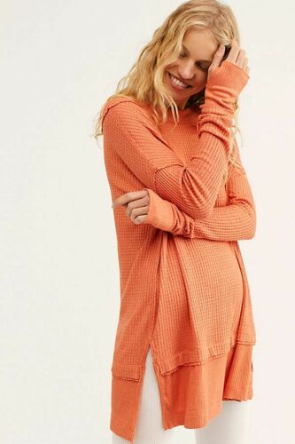 Free People We The Free North Shore Oversized Thermal Top Coral Light SZ S  NWT