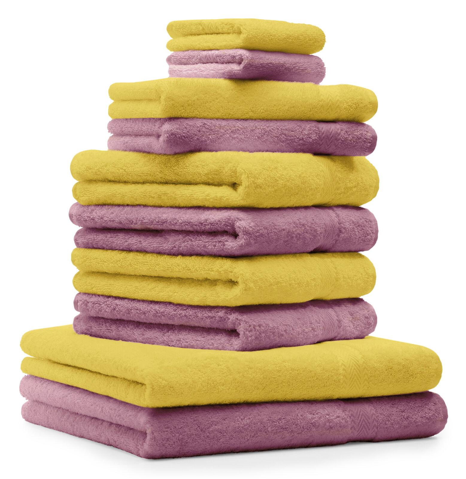 Betz 10-tlg. Handtuch Set Classic Farbe Gelb & AltRosa     | Gewinnen Sie hoch geschätzt