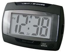 Champion Alarm Clock Auto Light Sensor Crescendo Snooze Black Battery Mains