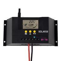 LCD 30A 12V/24V Solar Panel Controller Regulator Charge Battery Safe Protection
