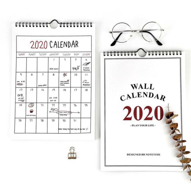 2020 Calendar Paper Hanging Schedule Home Calender Office