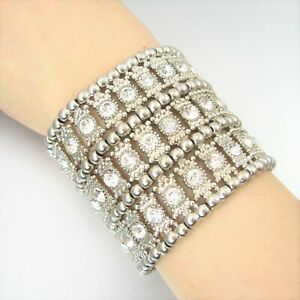 Faceted-Rhinestone-Metal-Beads-Charm-Stretch-Fashion-Bracelet-Statement
