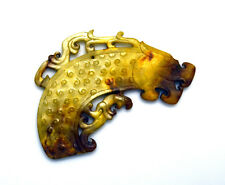 Fine Carved Antique Chinese Eastern Zhou Dragon Head Jade Pendant Huang