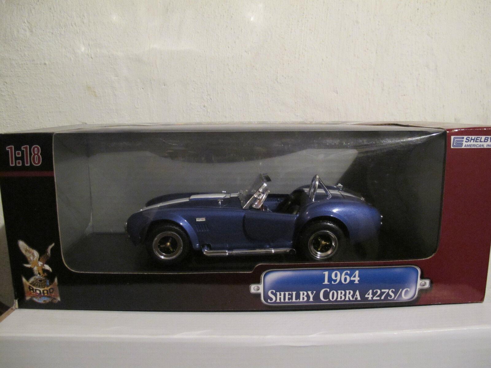 1 18 Shelby Cobra 427 S C 1964, bleu, ROAD SIGNATURE, NOUVEAU & NEUF dans sa boîte, RARE