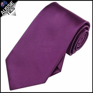 Mens-Plum-Grape-Purple-Plain-Men-039-s-Tie-Necktie