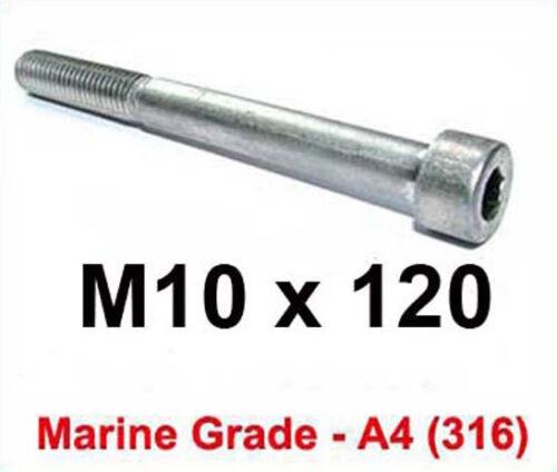 M10 x 120 Marine Grade Stainless Allen Bolts 10mm x 120mm A4 Socket Cap x2