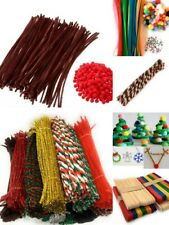 Christmas Craft Striped Pipe Cleaners Tinsel Pom Poms Googly Eyes Rudolph Set