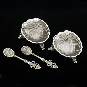 Euro-Ca-1900-800-Silver-Pair-Nut-Mint-Dishes-Shell-Motif-Footed-with-2-Spoons