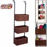 Hanging Wall 3 Tier Basket Weave Woven Wicker Storage Rack Shelf Organizer Room