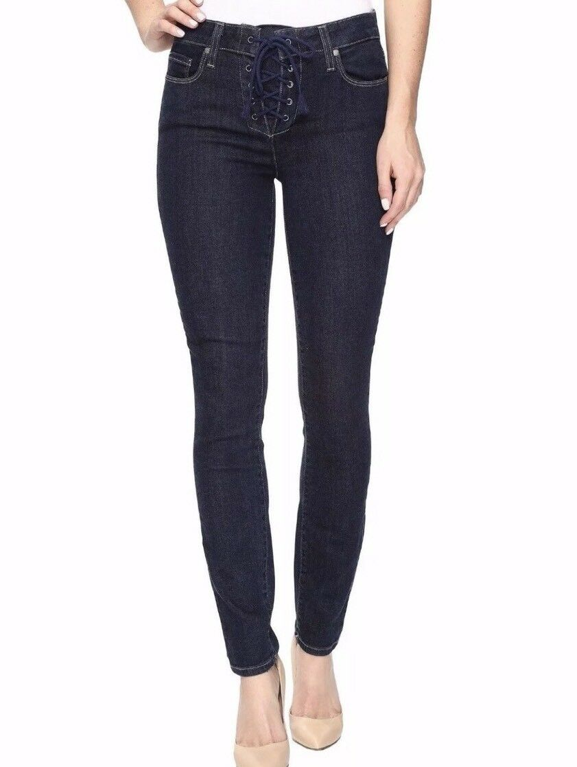 NEW PAIGE TRANSCEND Sz 28 HOXTON ANKLE LACE UP SKINNY JEANS IN HANLEY blueE  229
