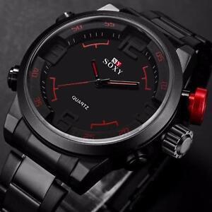 Herrenuhr-Luxus-Army-Sport-Edelstahl-Armbanduhr-Wasserdicht-Analog-Quarz-Watch