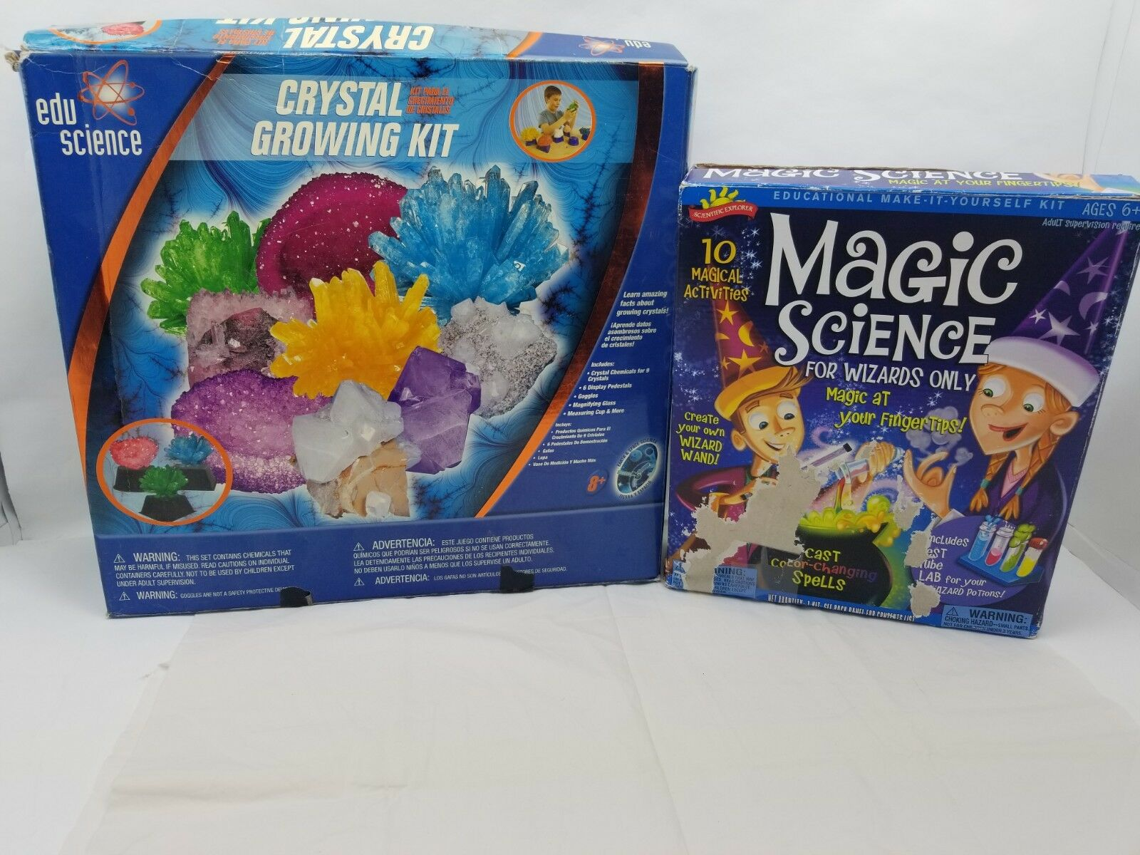 Kids DIY SCIENCE LOT Crystal Growing Kit & MAGIC Wizards color Changing Spells