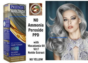 BB1 SILVERY PLATINUM HAIR TONER Blonde Bleached Grey NO AMMONIA ...