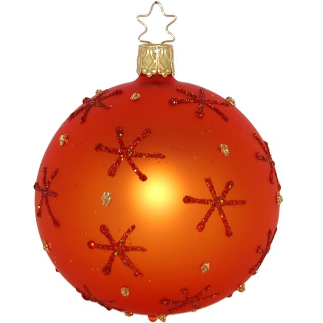 """Stars 'n Dots Orange"" 6cm Ball Glass Ornament w/ box by Inge Glas (436) RETIRED"