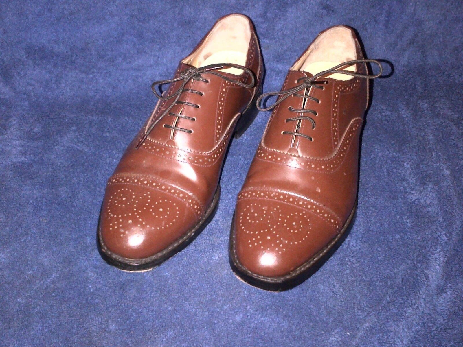 MENS SAMUEL WINDSOR HAND MADE BROWN LEATHER SHOES SIZE 8
