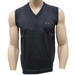 Oakley-CLUB-KNIT-VEST-Mens-Size-L-Large-Black-Knitted-Sweater-Casual-Golf-Knit