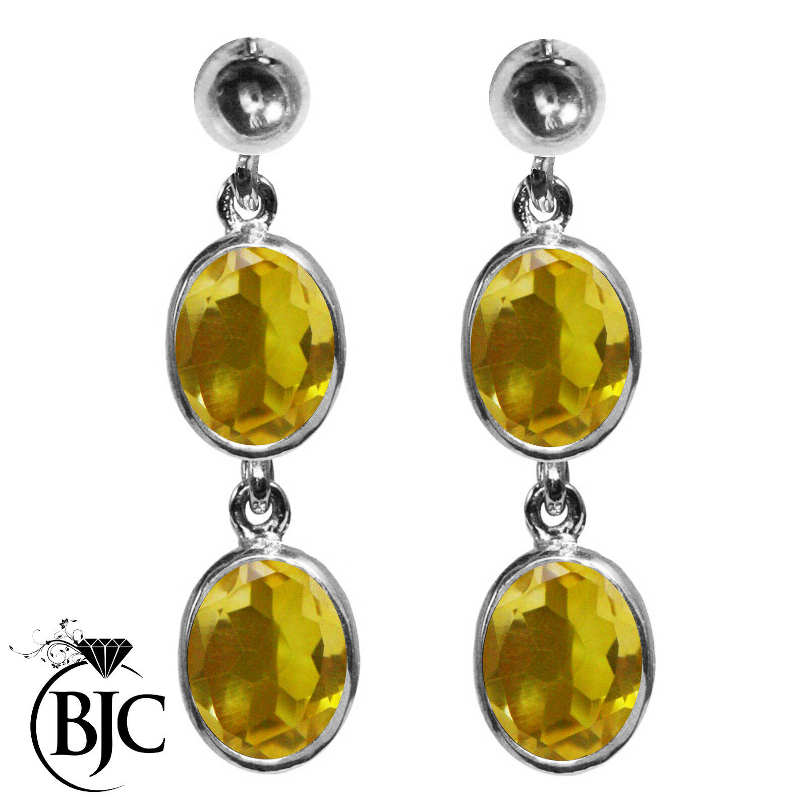 BJC® 9ct White gold Natural Citrine Oval Double Drop Dangling Studs Earrings