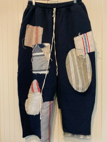 BY WALID Jay Patchwork Cotton Trousers In Navy, 34