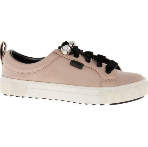 BNIB RRP  KARL LAGERFELD Pink Satin Taffeta Sneakers Trainers shoes UK8