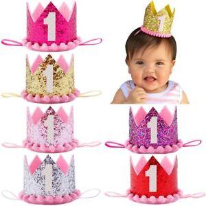 Bebe Corona Diadema 1 Anos Brillo Fiesta De Cumpleanos Sombrero Ebay