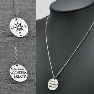 2side Fashion Fantasy novel Not All Those Who Wander Are Lost Pendant Necklace