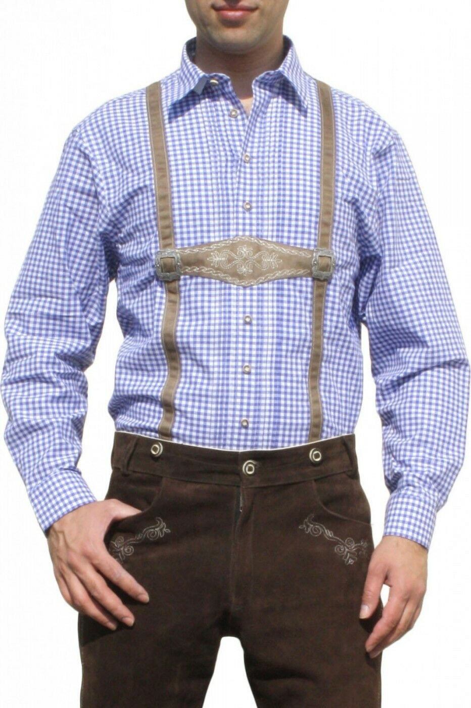 German Wear, Trachtenhemd pour bretelles-Imitation Lederhosen avec bretelles-Imitation pour Bleu/à Carreaux 2d23f8