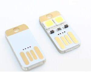 5Pcs NEW Double Sided Pluggable USB LED Night Light Power Supply White Lamp