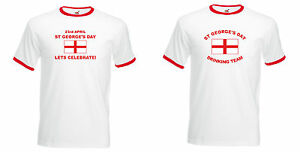 ST-GEORGE-039-S-DAY-LETS-CELEBRATE-or-DRINKING-TEAM-T-SHIRT-WHITE-RINGER-S-to-XXL