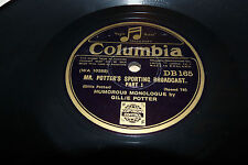 VINTAGE 78 rpm RECORD - GILLIE PORTER - MR PORTERS SPORTING BROADCASTS