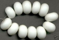 12 pcs White Rondelle Lampwork Glass Beads Jewelry Loose Spacer 8x12mm