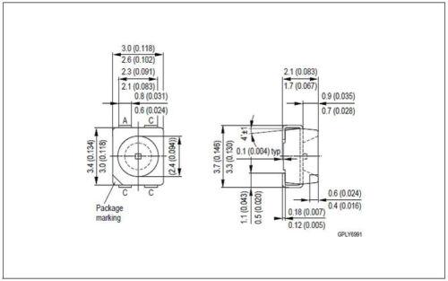 200pcs LYE675 Osram Bright Yellow Power TopLED SMD SMT LED Surface Mount USA!