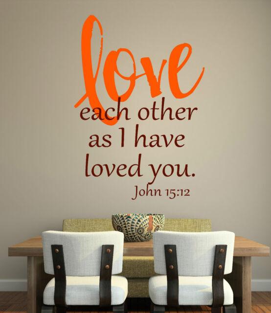 John 15 12 Bible Scripture Vinyl Lettering Wall Art Words Decals ...
