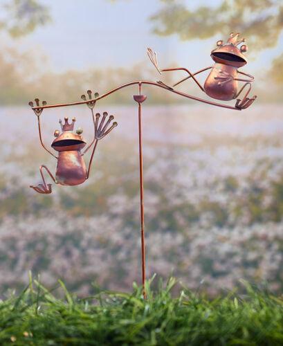 Weathered Finish Steel Frog Wind Balancers Kinetic Sculpture Garden Stake