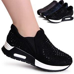 Damenschuhe-Keil-Sneaker-Glitzer-Plateau-Velours-Turnschuhe-Dad-Halbschuhe-Derby
