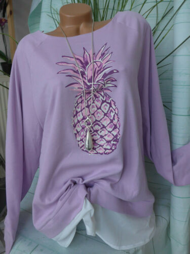 Sheego Pull Sweat Avec chemisiers approche taille 48//50 à 58 Lilas NEUF 584