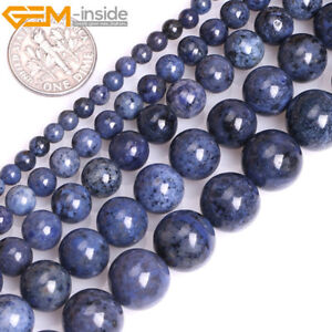 Natural-Gemstone-Blue-Dumortierite-Round-Loose-Beads-For-Jewellery-Making-15-034-UK