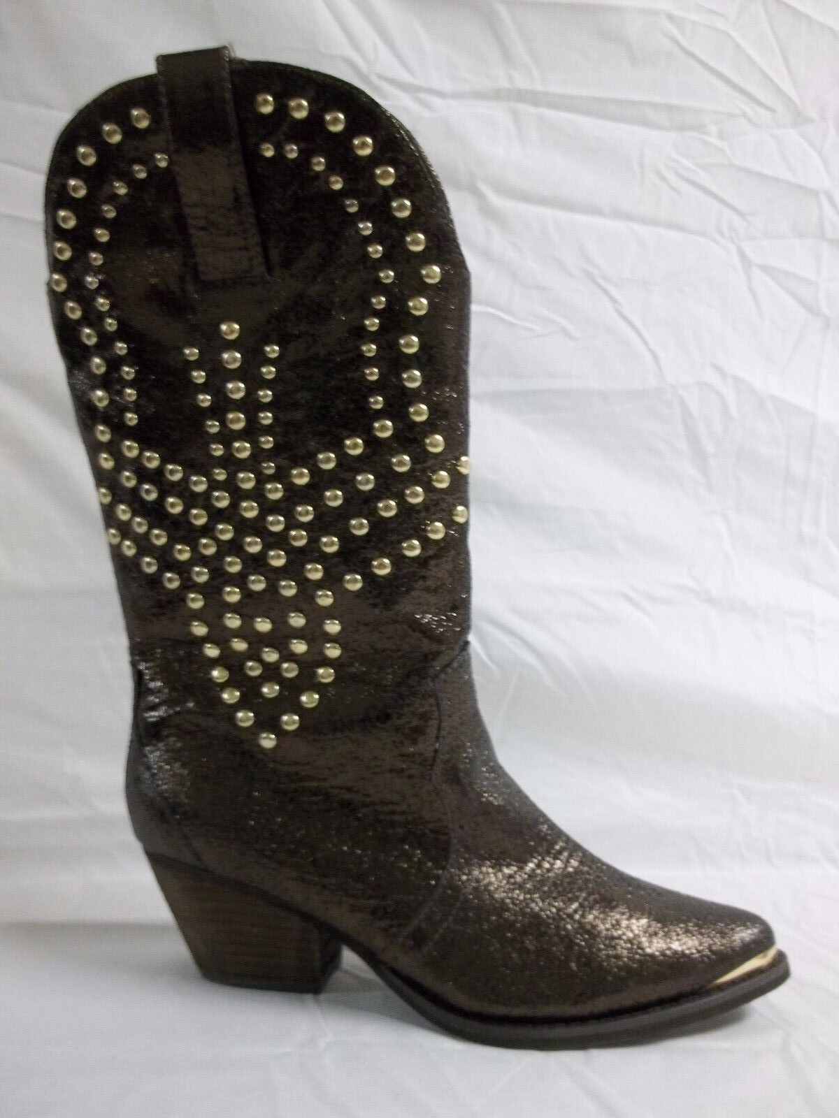 Reba Size 7.5 M Biker Brown Leather Mid Calf Cowboy Boots New Womens Shoes NWB