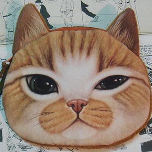 Cartoon Cute 3D Animals Cat Dog Face Zipper Case Coin Purse Wallet Pouch Bag KE