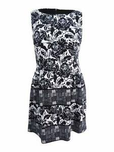 Vince-Camuto-Women-039-s-Floral-Print-Fit-amp-Flare-Dress-14-Black-White
