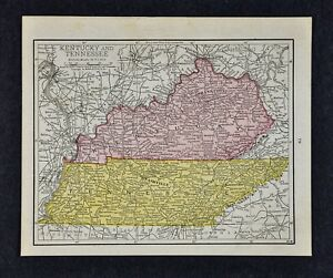 1917 mapa McNally-Tennessee Kentucky-Louisville Nashville Memphis ...