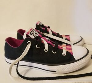 7a9ead41b6ad Converse All Star Loopholes Ox GS Black Pink Girls 3 Grade School ...