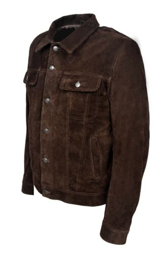 TRUCKER Men's Jacket Genuine Brown Suede Leather Classic Western Stylish Shirt