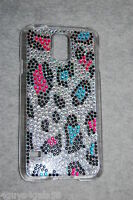 Galaxy S5 Cell Phone Hard Case Rhinestones Hot Pink Turquoise Leopard Spots
