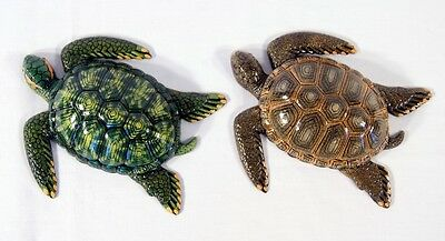 """Hand Painted 8"""" Sea Turtle Replica Wall Mount Decor Plaque Green or Brown 16S"""