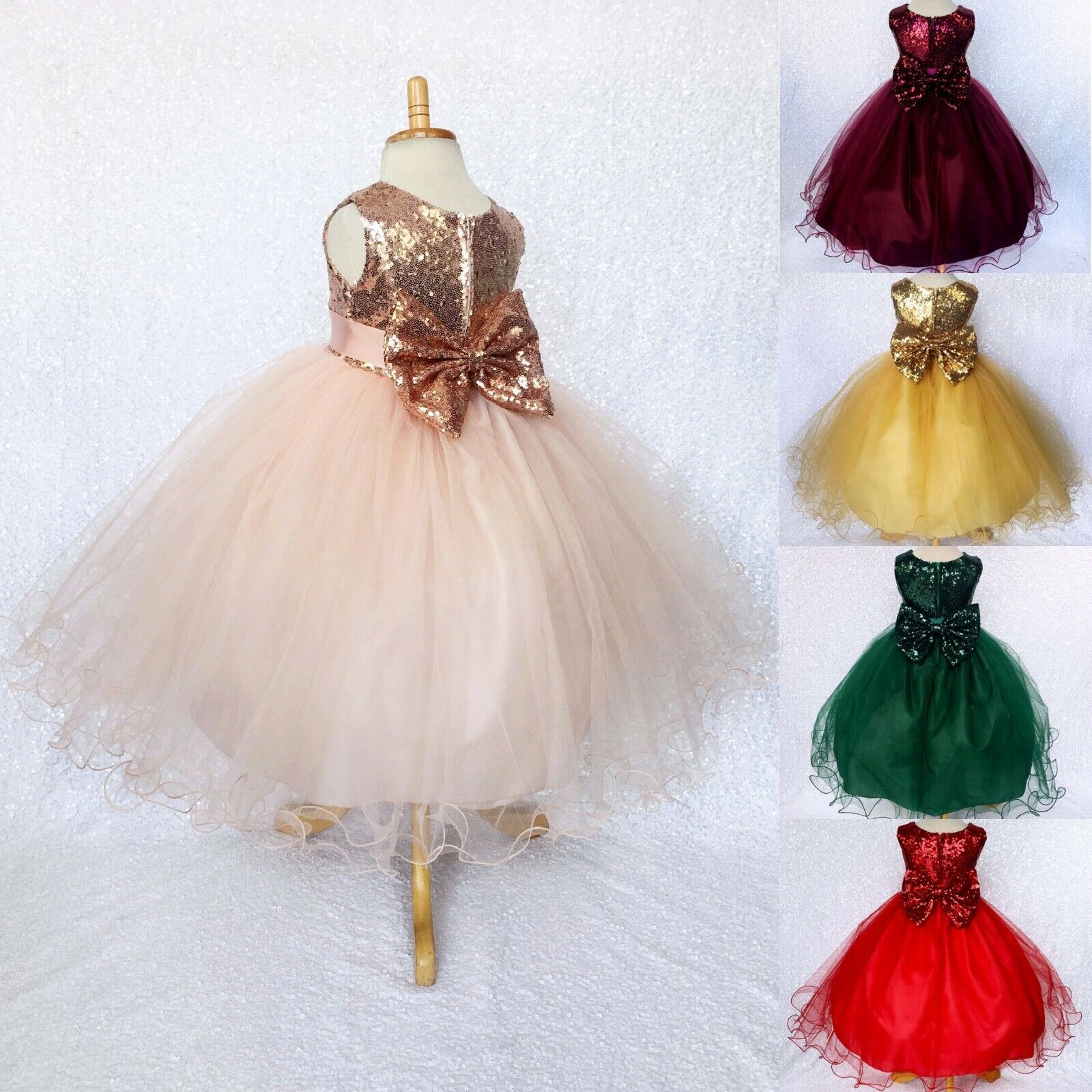 FL Mini Sequin Multi Color Flower Girl Dress Pageant Recital Birthday Junior 2 4