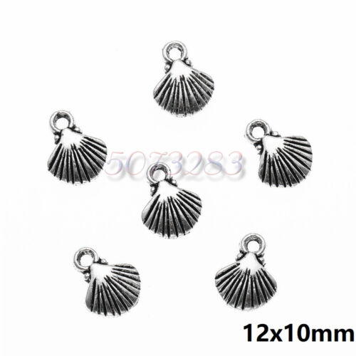 150 PCS Tibetan Silver Crafts DIY Shell Charms Pendants Making Bracelet 12*10mm