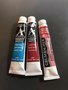 775.1 Grumbacher Academy Watercolor Round Brush White Nylon Bristles Size 1
