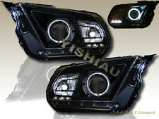 2010 2012 Ford Mustang Ccfl Halo Projector Headlights Black With Led Fits Mustang